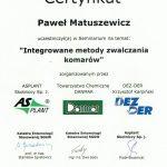 Certyfikat - INTEGROWANE METODY ZWALCZANIA KOMARÓW